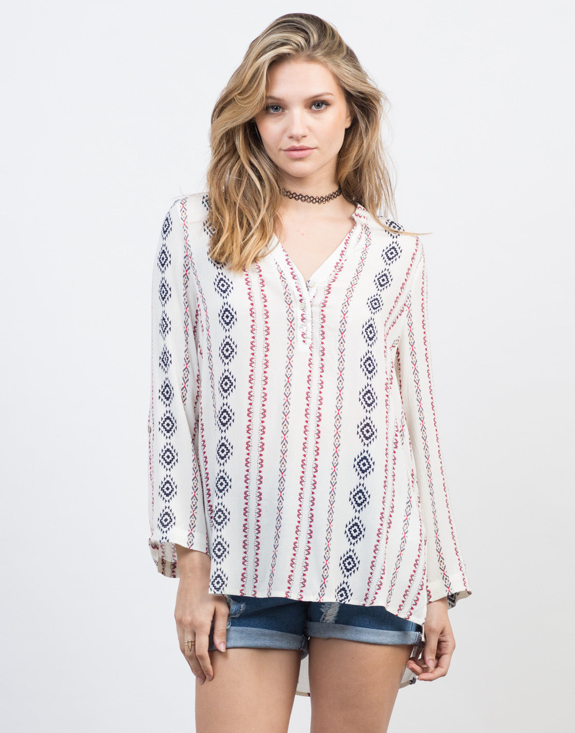 Front View of Festival Print Blouse