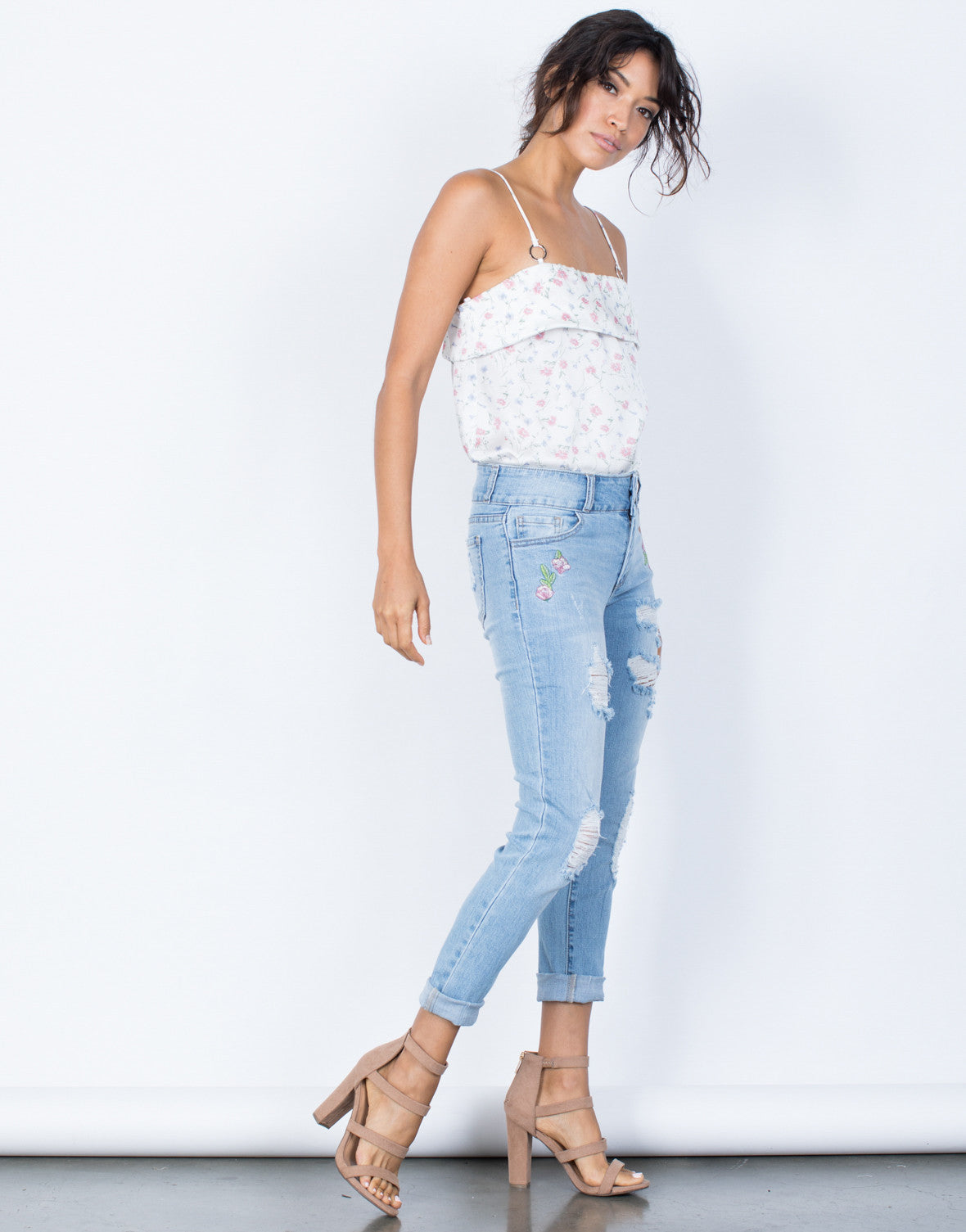 Light Blue Denim First Bloom Floral Jeans - Side View