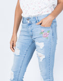 Light Blue Denim First Bloom Floral Jeans - Detail