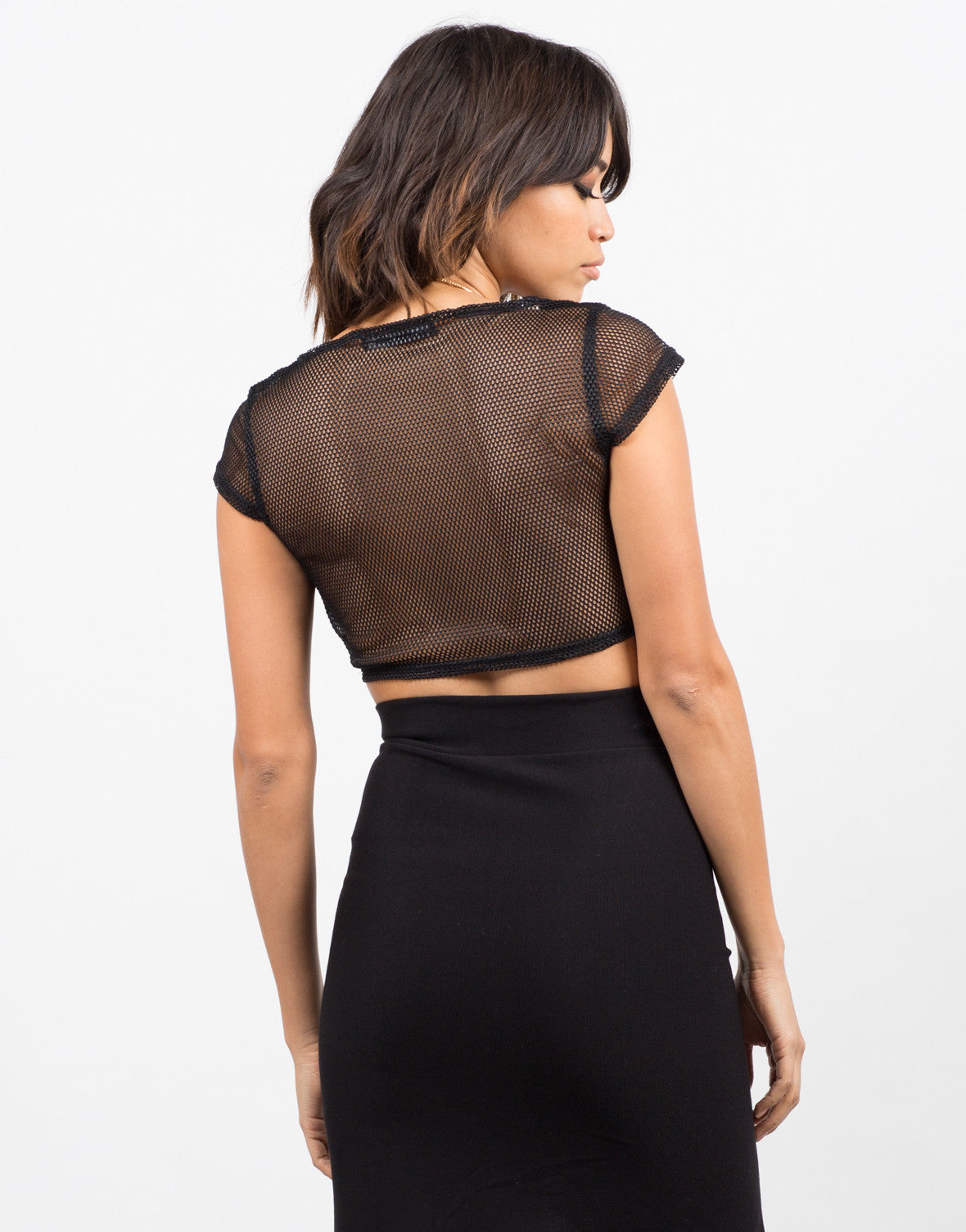 Back View of Fishnet Cropped Top