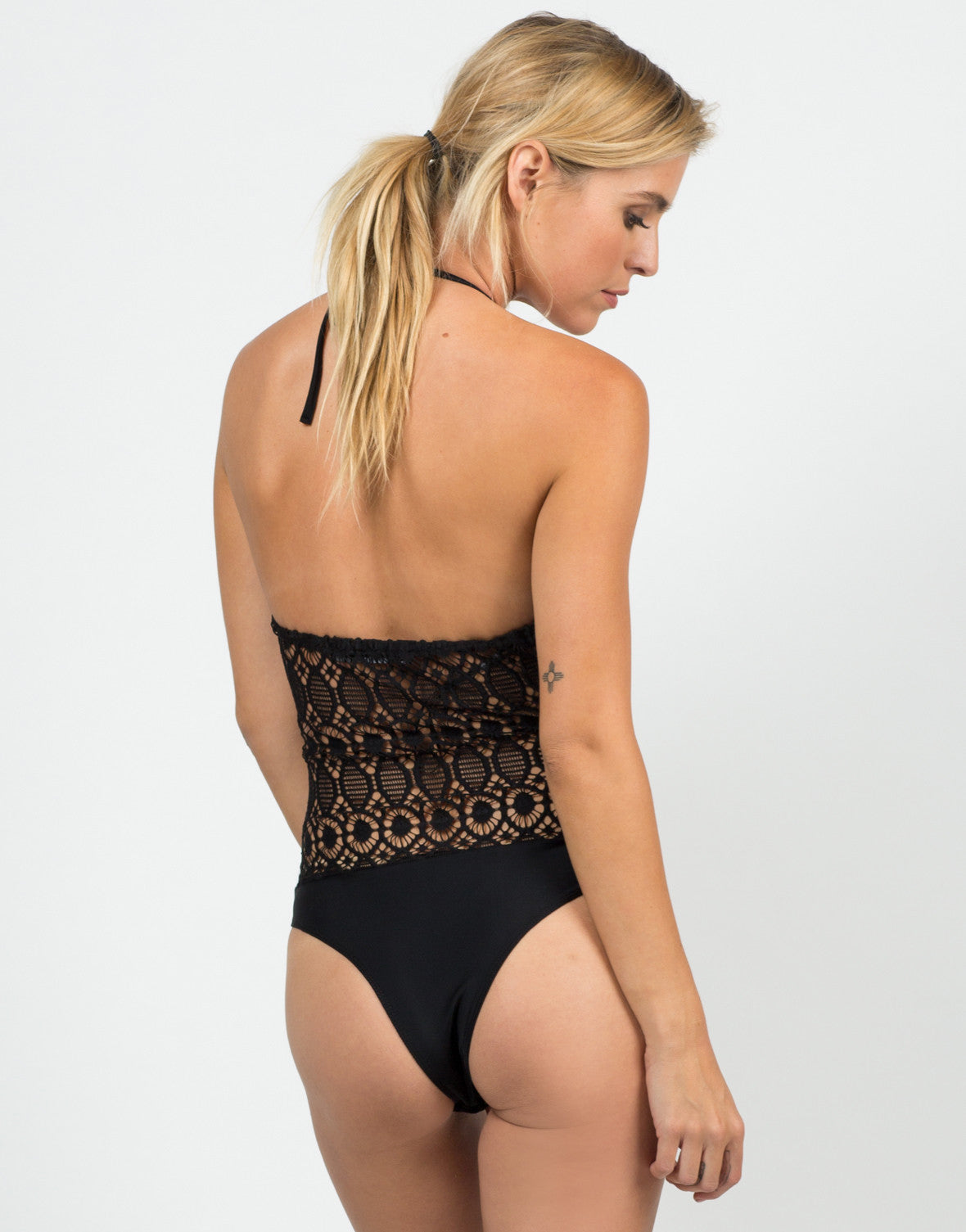 Back View of Fishnet Halter Bodysuit
