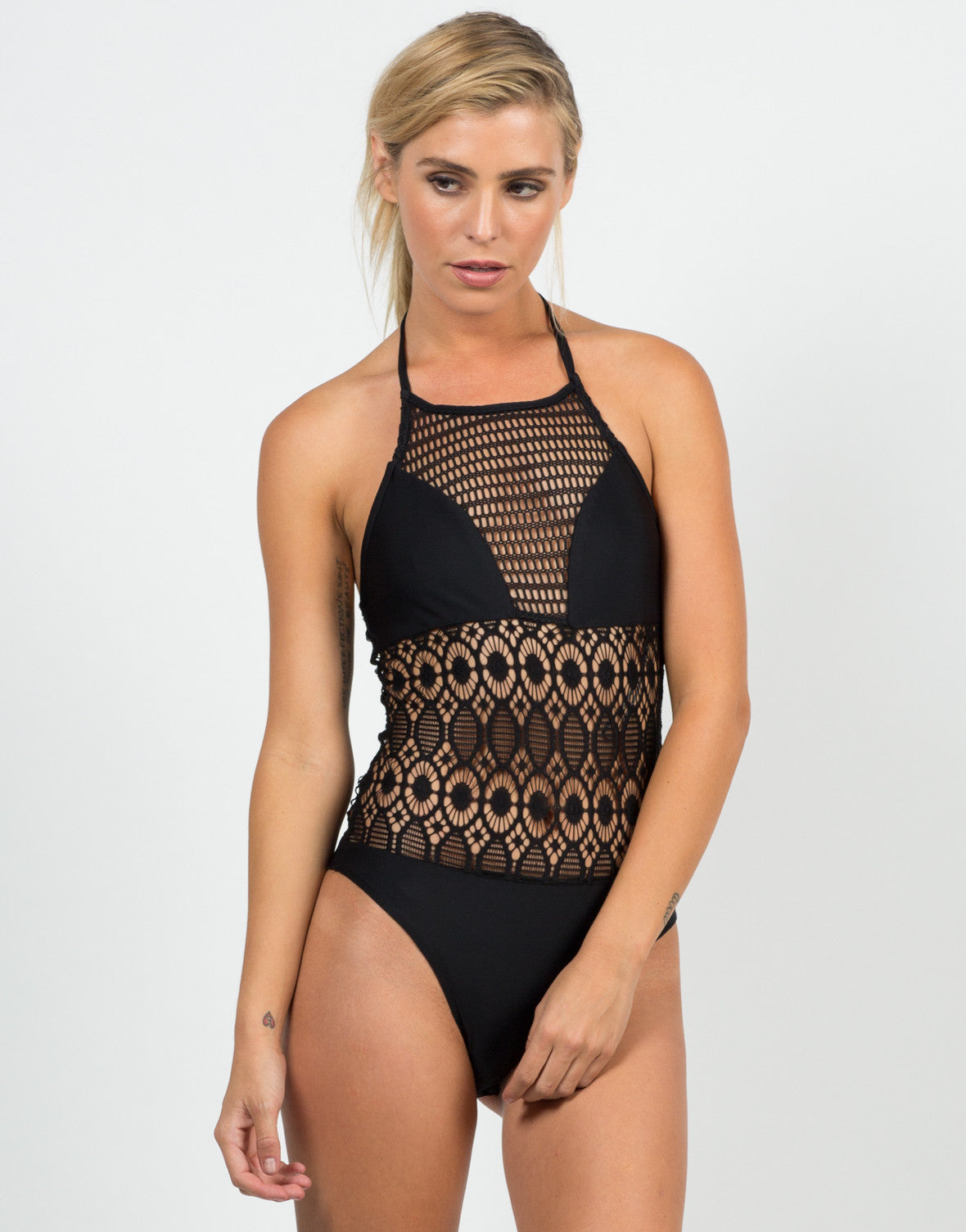 Front View of Fishnet Halter Bodysuit