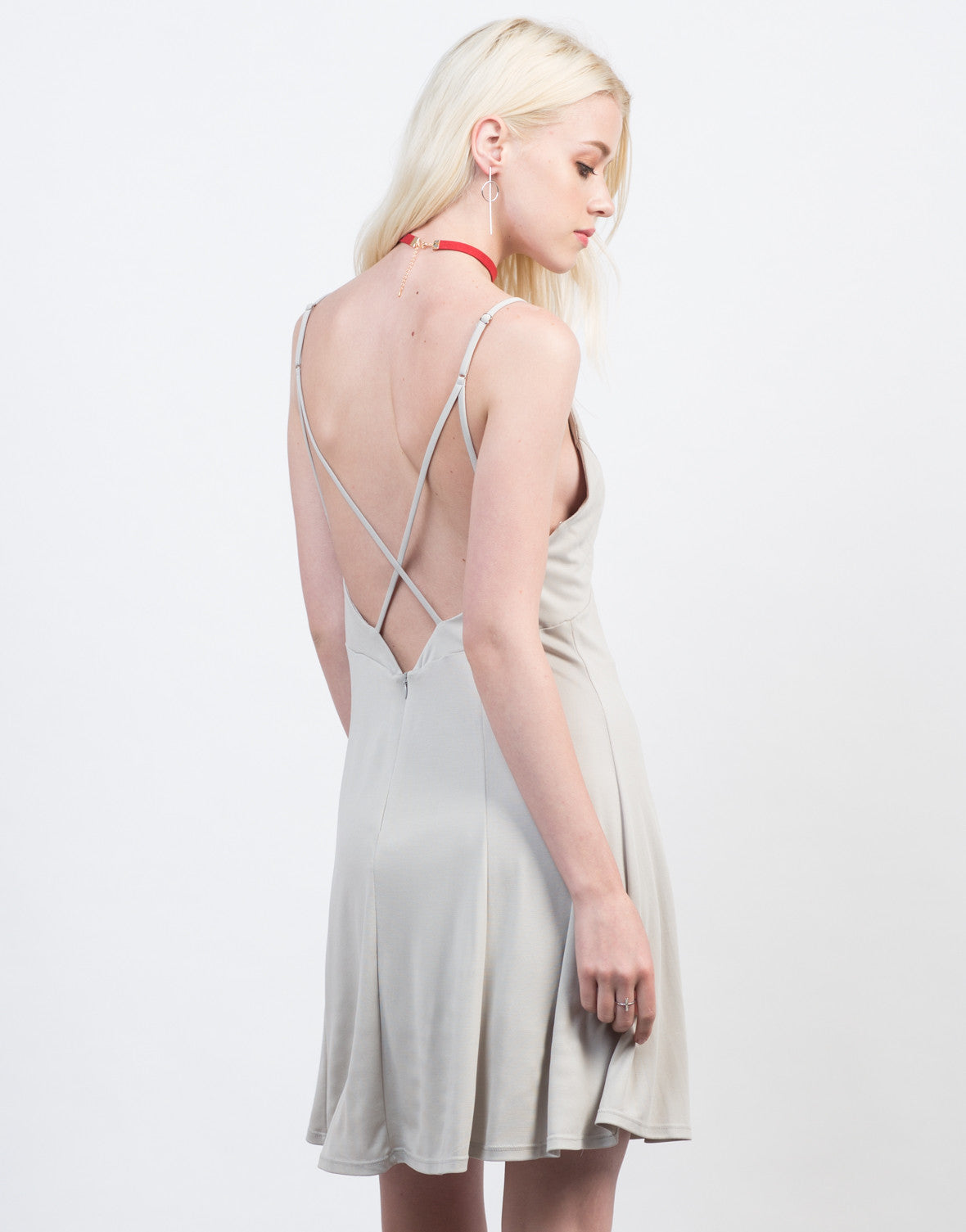 Back View of Fit and Flare Strappy Dress