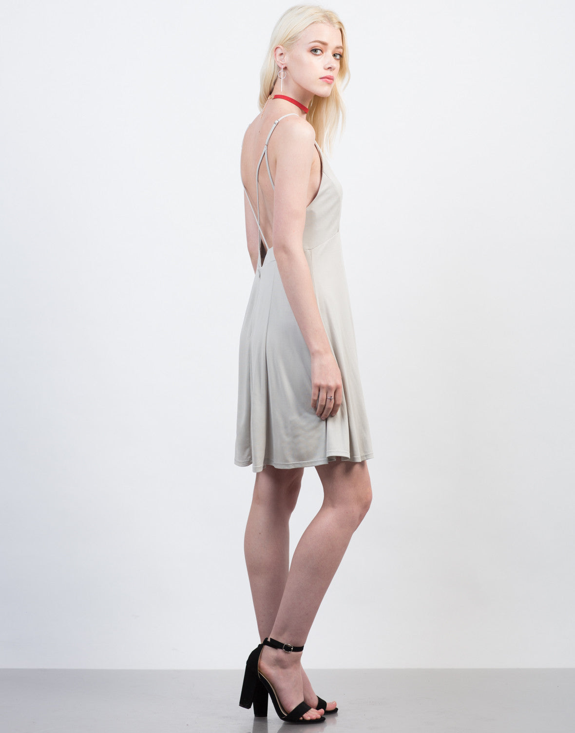 Side View of Fit and Flare Strappy Dress