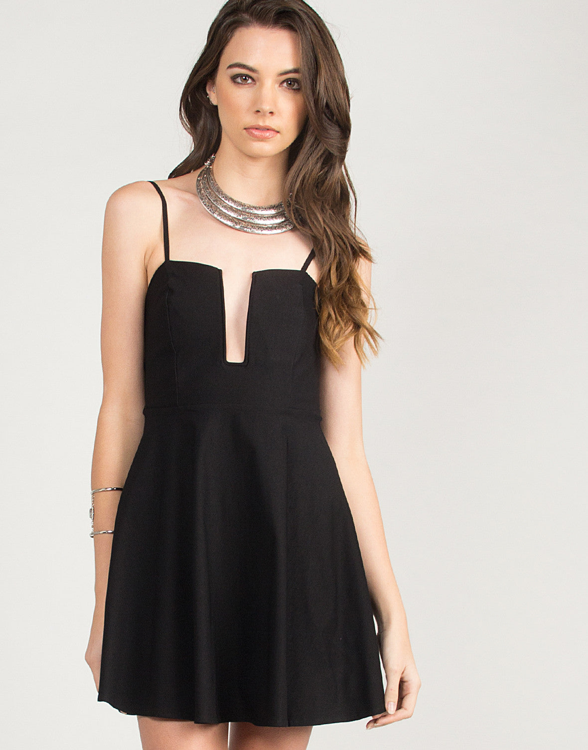 Fit and Flare Wire Dress - Black - Small