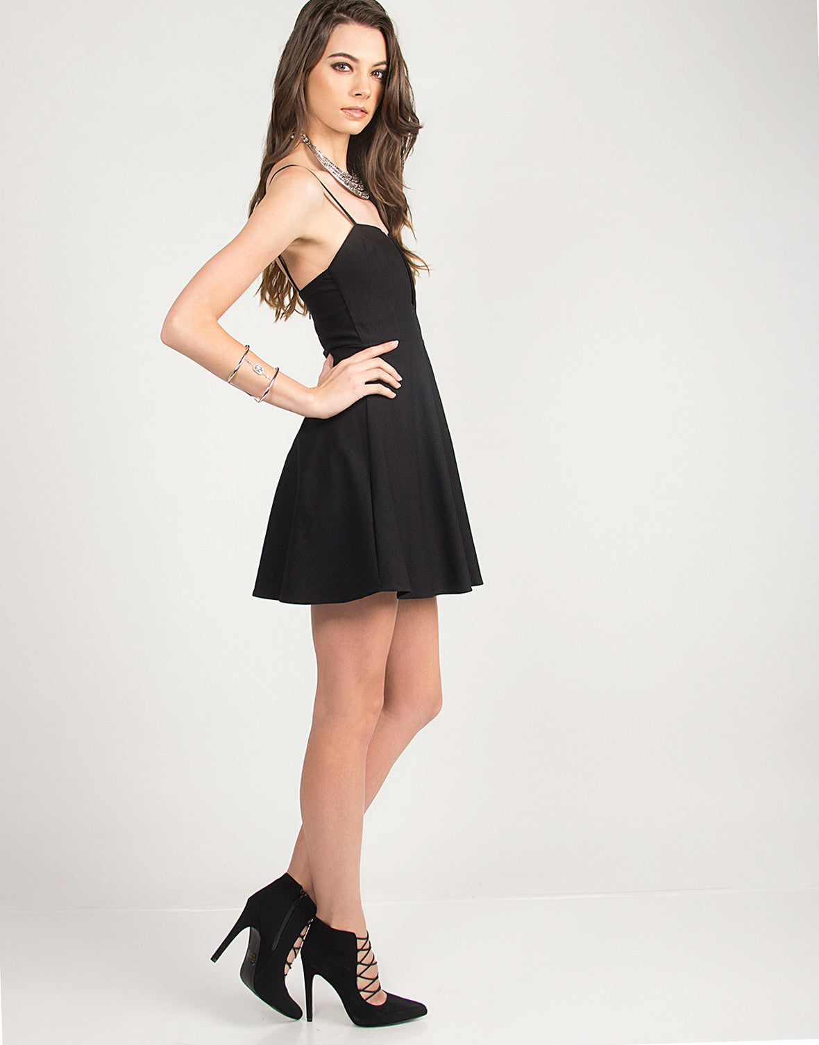 Fit and Flare Wire Dress - Black - Small - 2020AVE