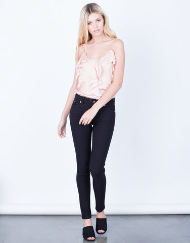 Front View of Fitted Colored Skinny Pants