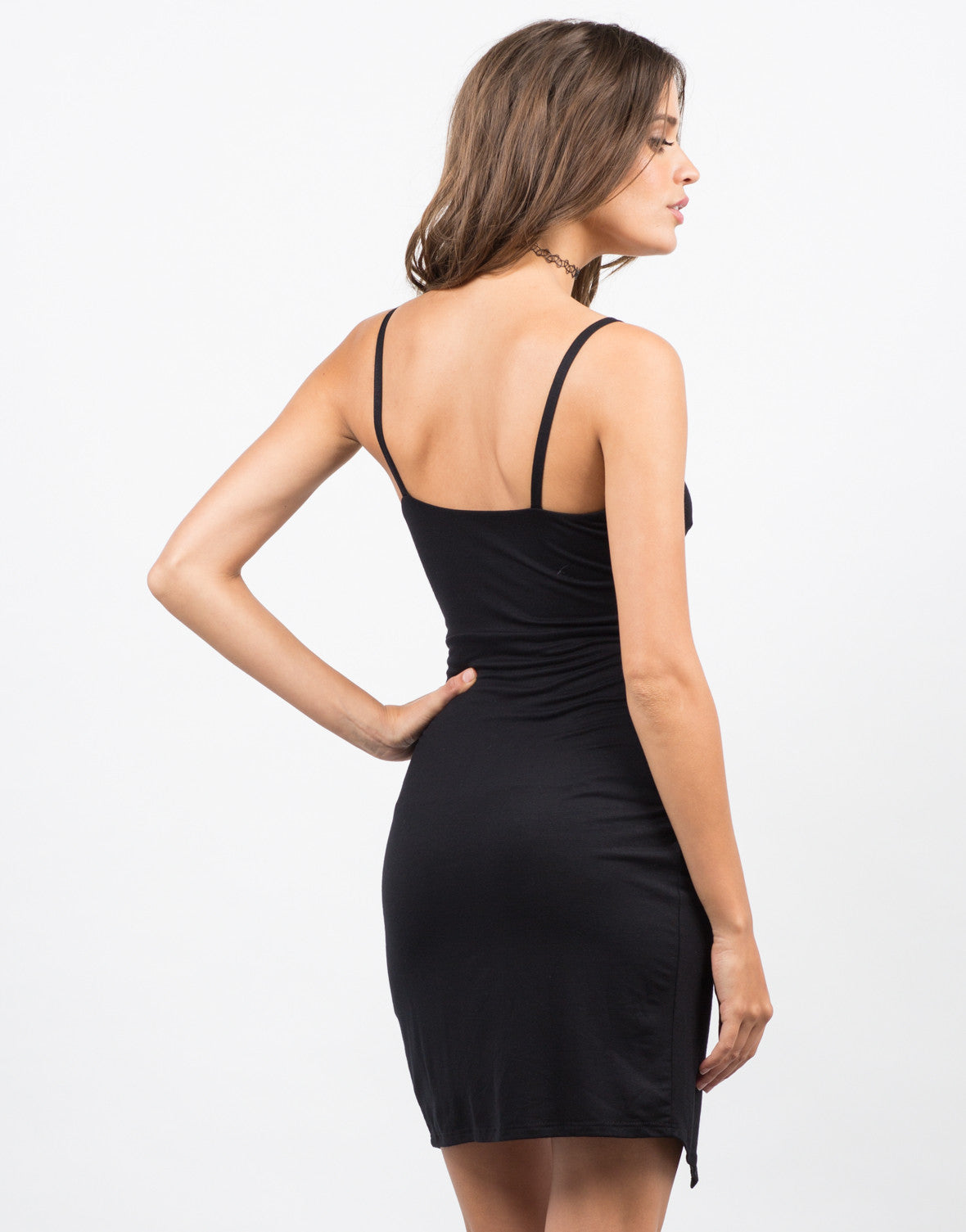 Back View of Fitted Asymmetrical Mini Dress