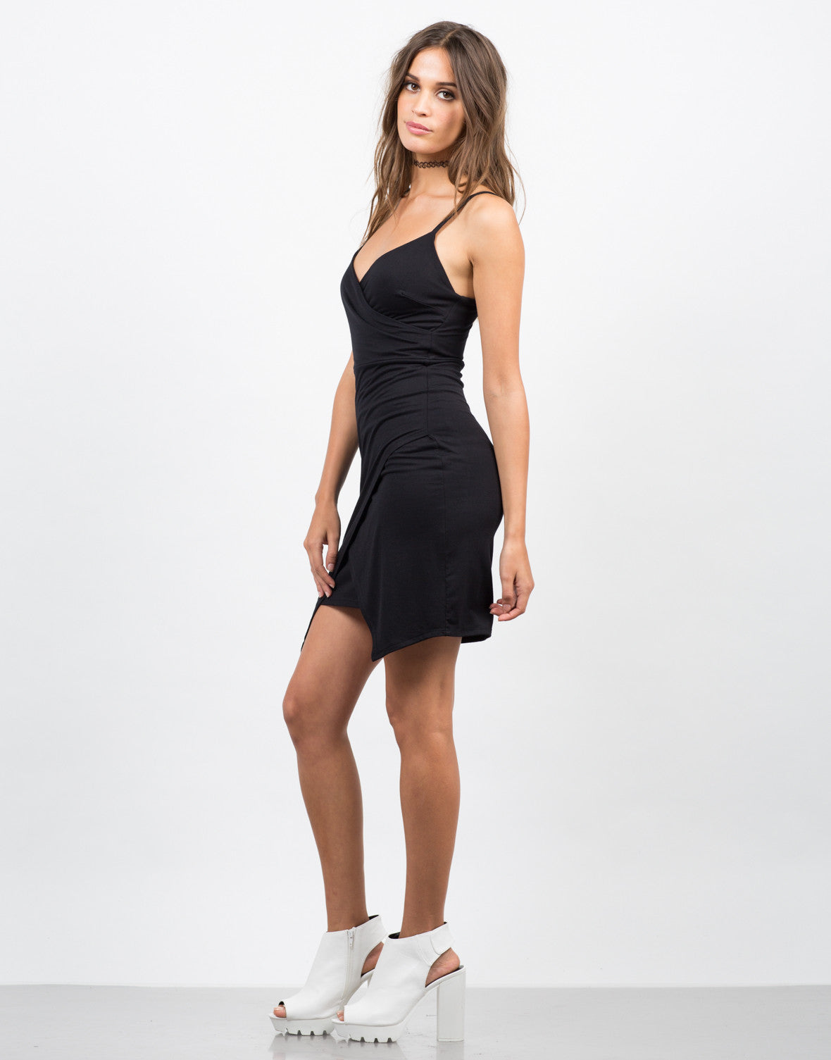 Side View of Fitted Asymmetrical Mini Dress