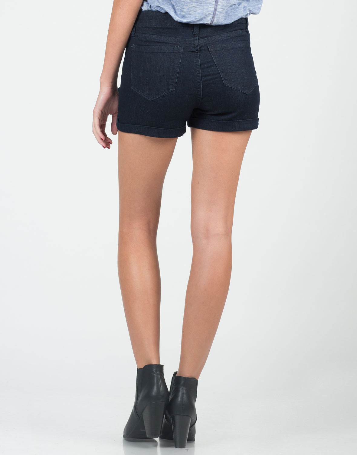 Back View of Fitted Foldover High Waisted Shorts