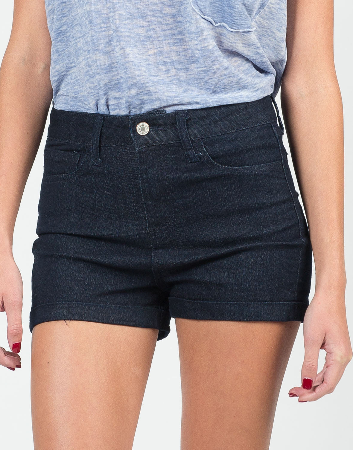Detail of Fitted Foldover High Waisted Shorts