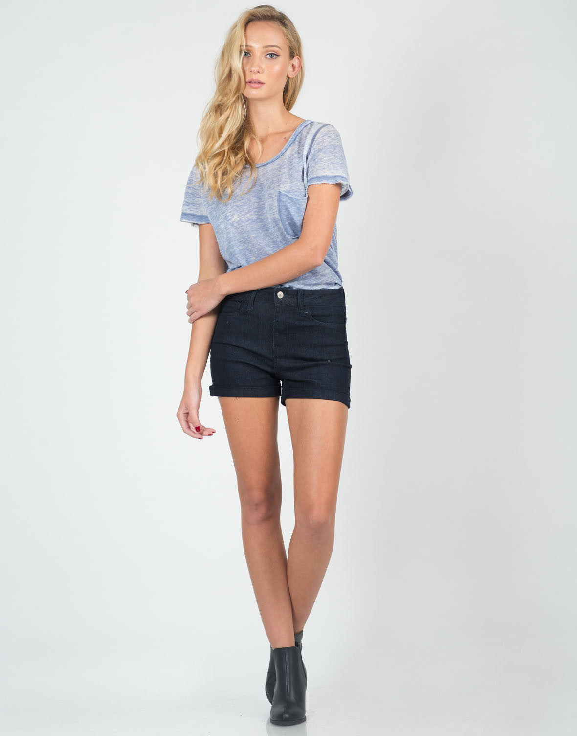 Front View of Fitted Foldover High Waisted Shorts