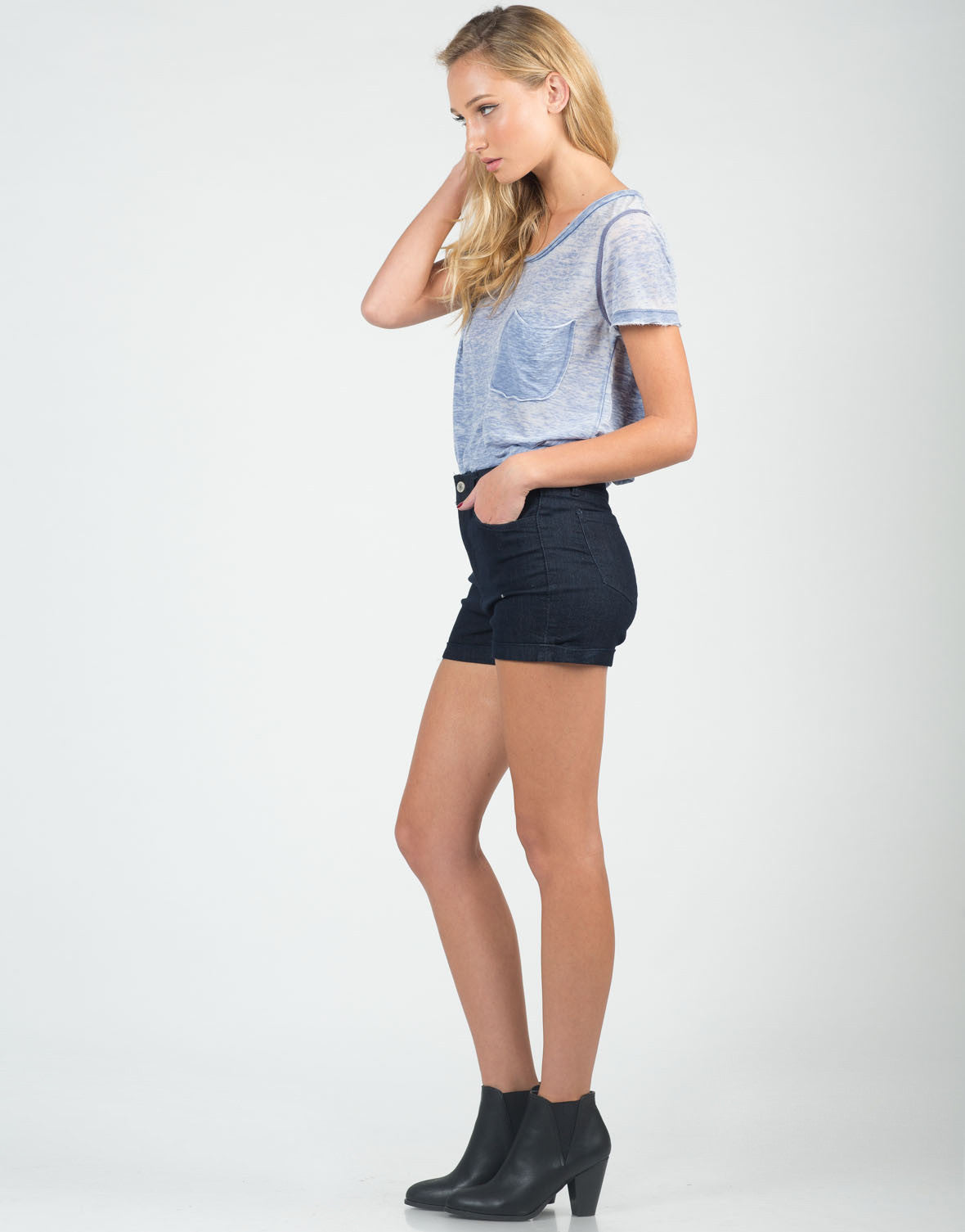 Side View of Fitted Foldover High Waisted Shorts
