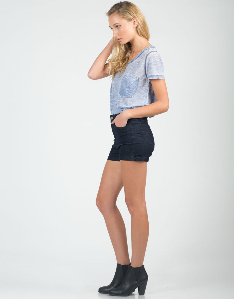 Fitted Foldover High Waisted Shorts - 2020AVE