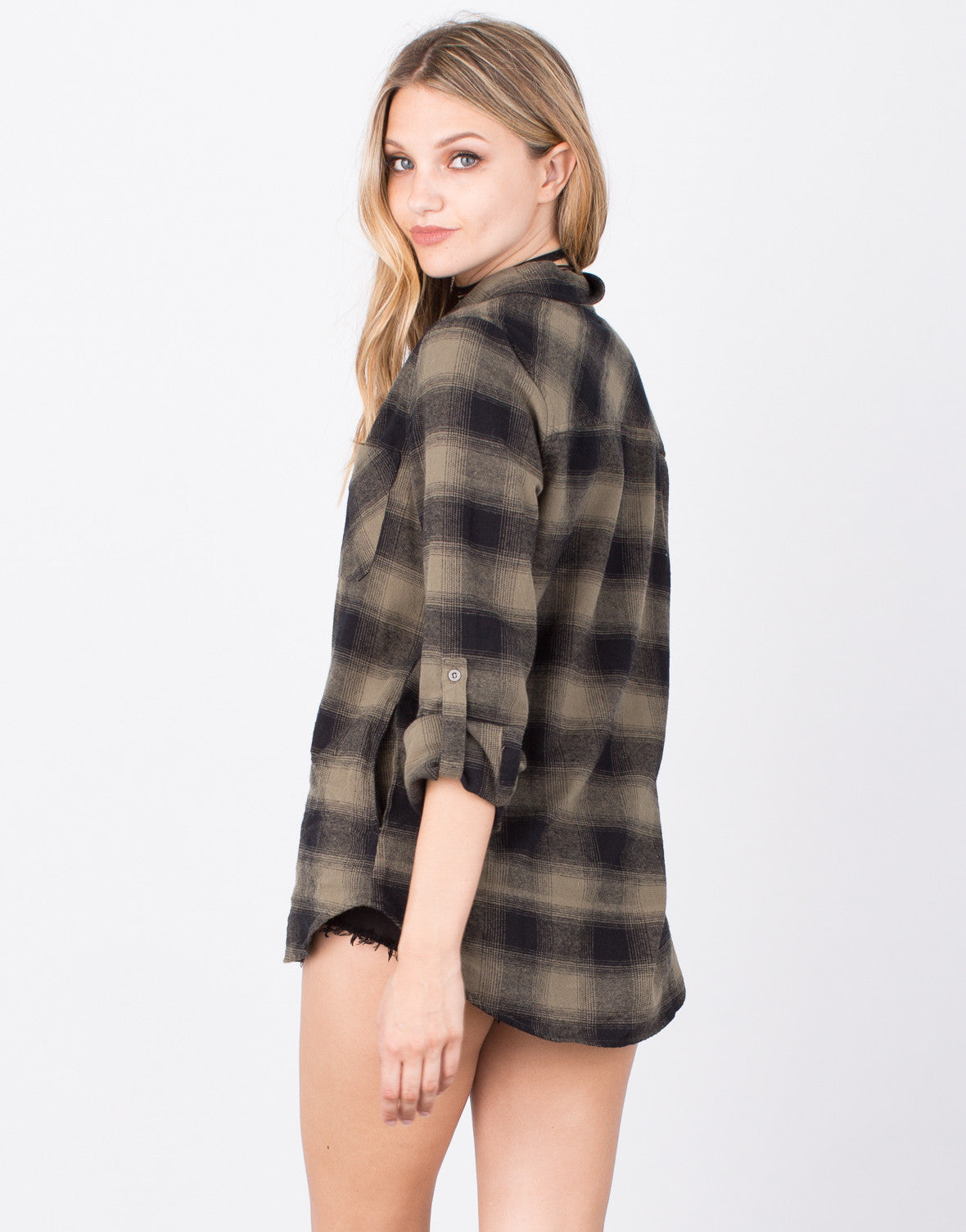 Back View of Flannel Button Up