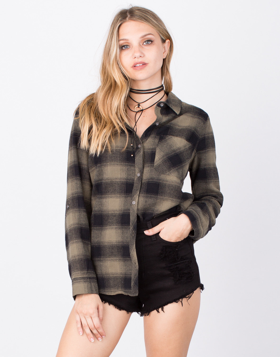 Front View of Flannel Button Up