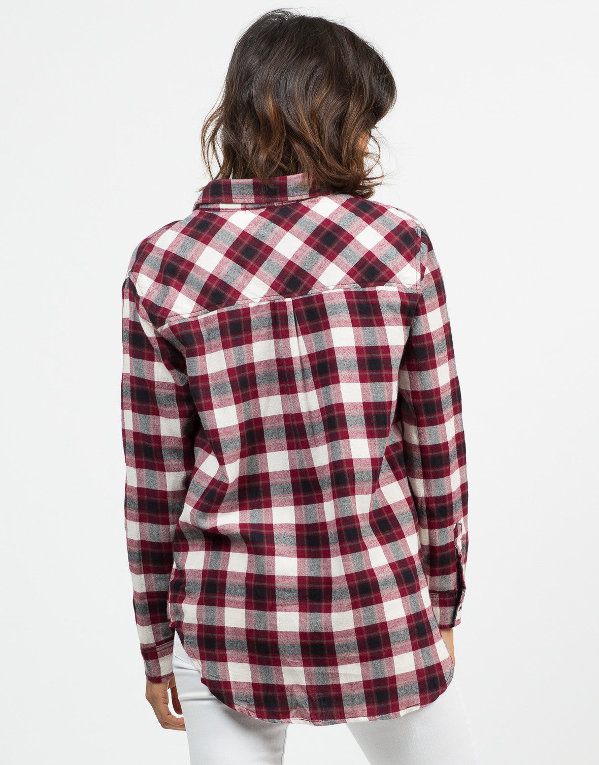 Back View of Flannel Checker Shirt