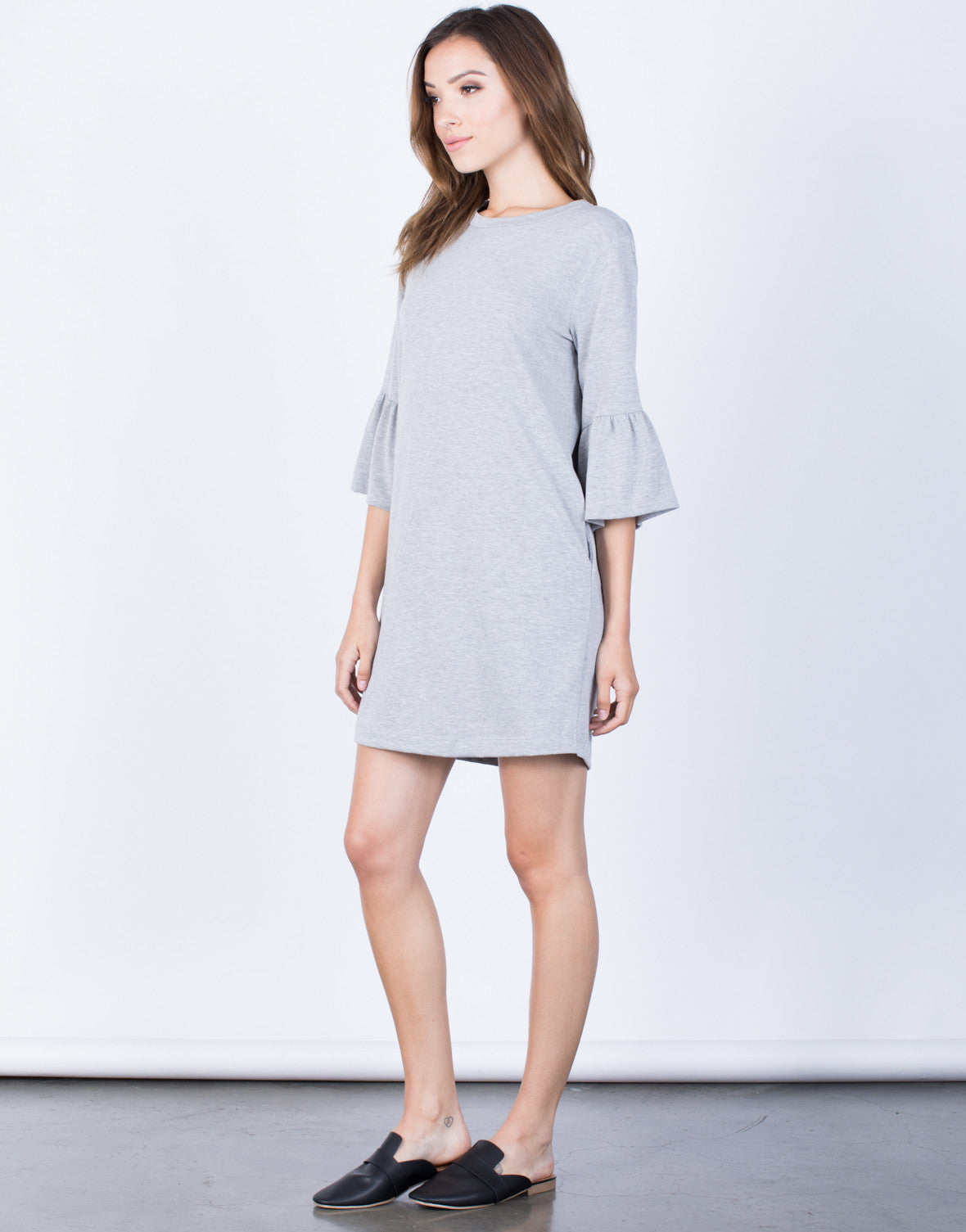 Side View of Flare the Bell Dress