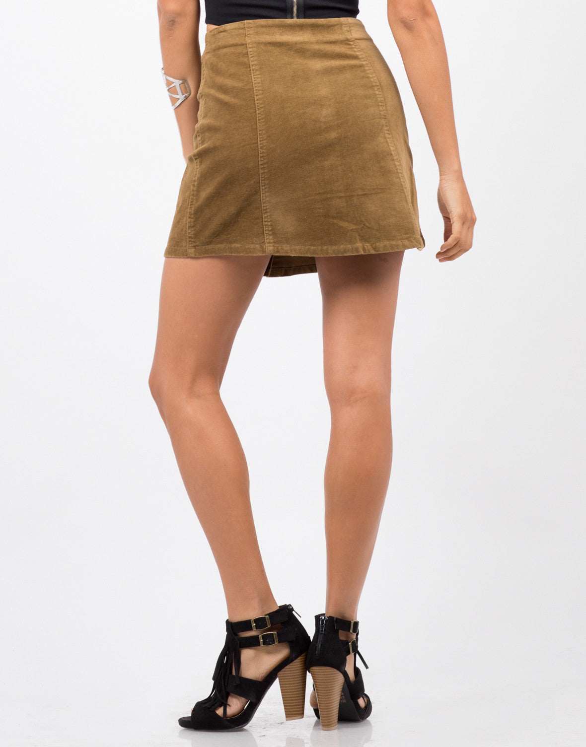 Back View of Flare Corduroy Mini Skirt