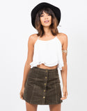 Front View of Flare Corduroy Mini Skirt