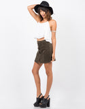 Side View of Flare Corduroy Mini Skirt