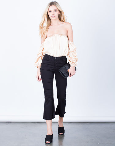 Front View of Flared and Frayed Culotte Pants
