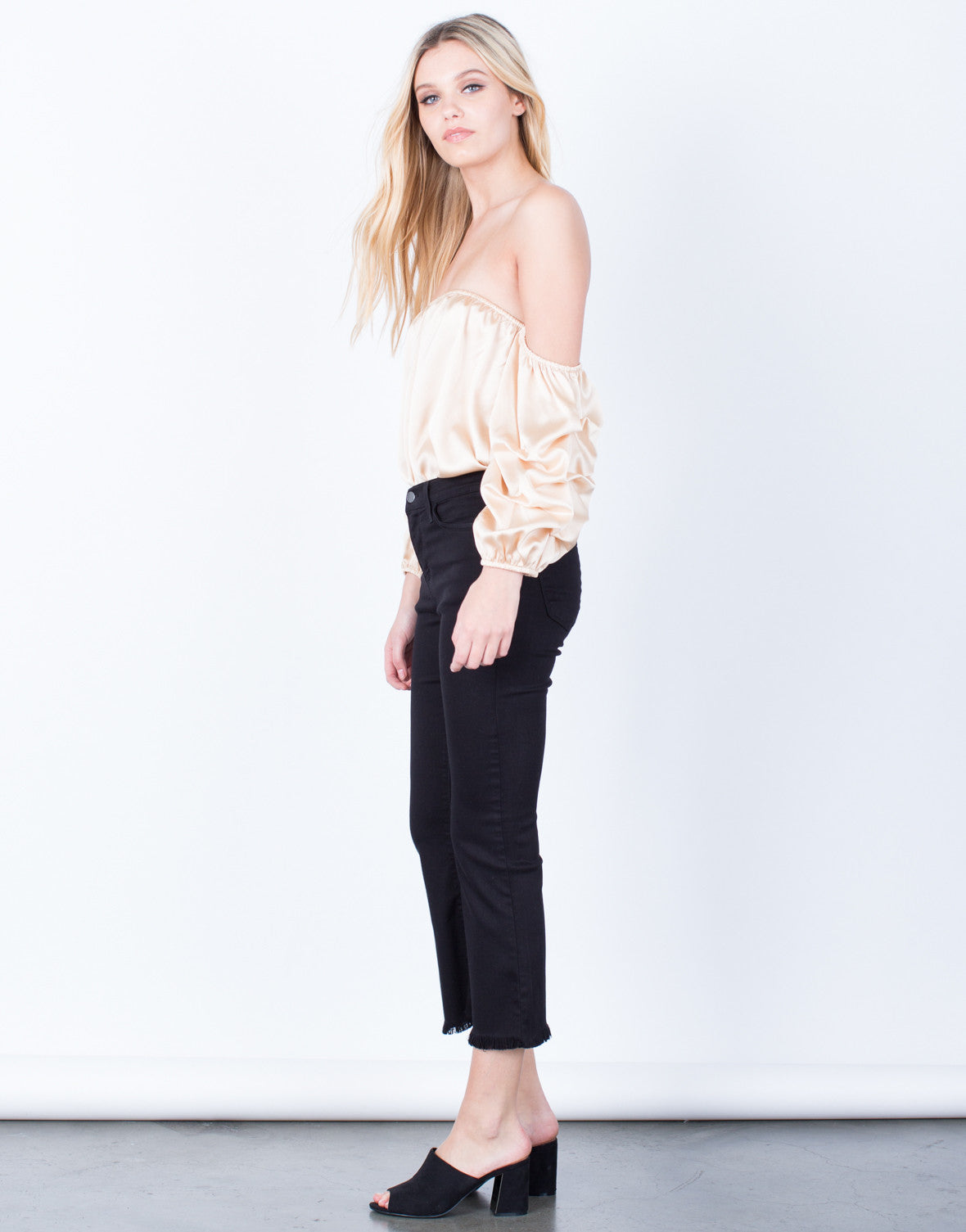 Side View of Flared and Frayed Culotte Pants