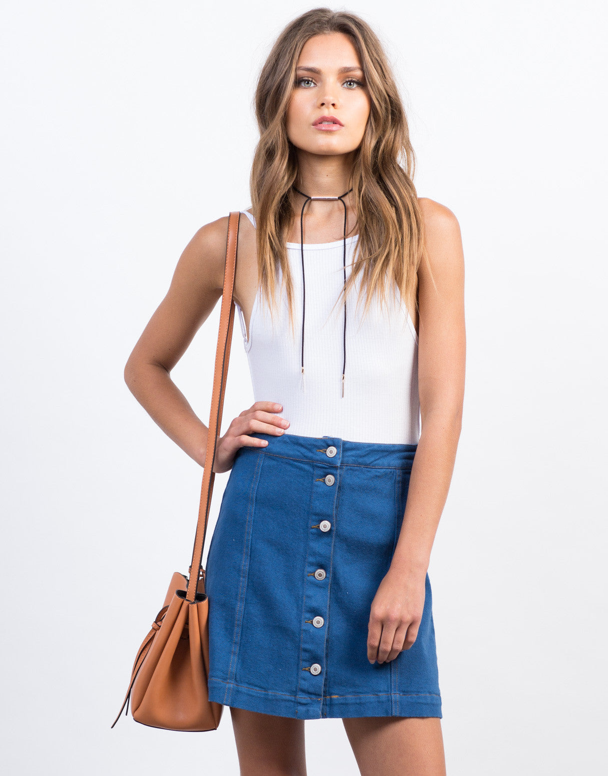 Front View of Flared Buttoned Denim Skirt