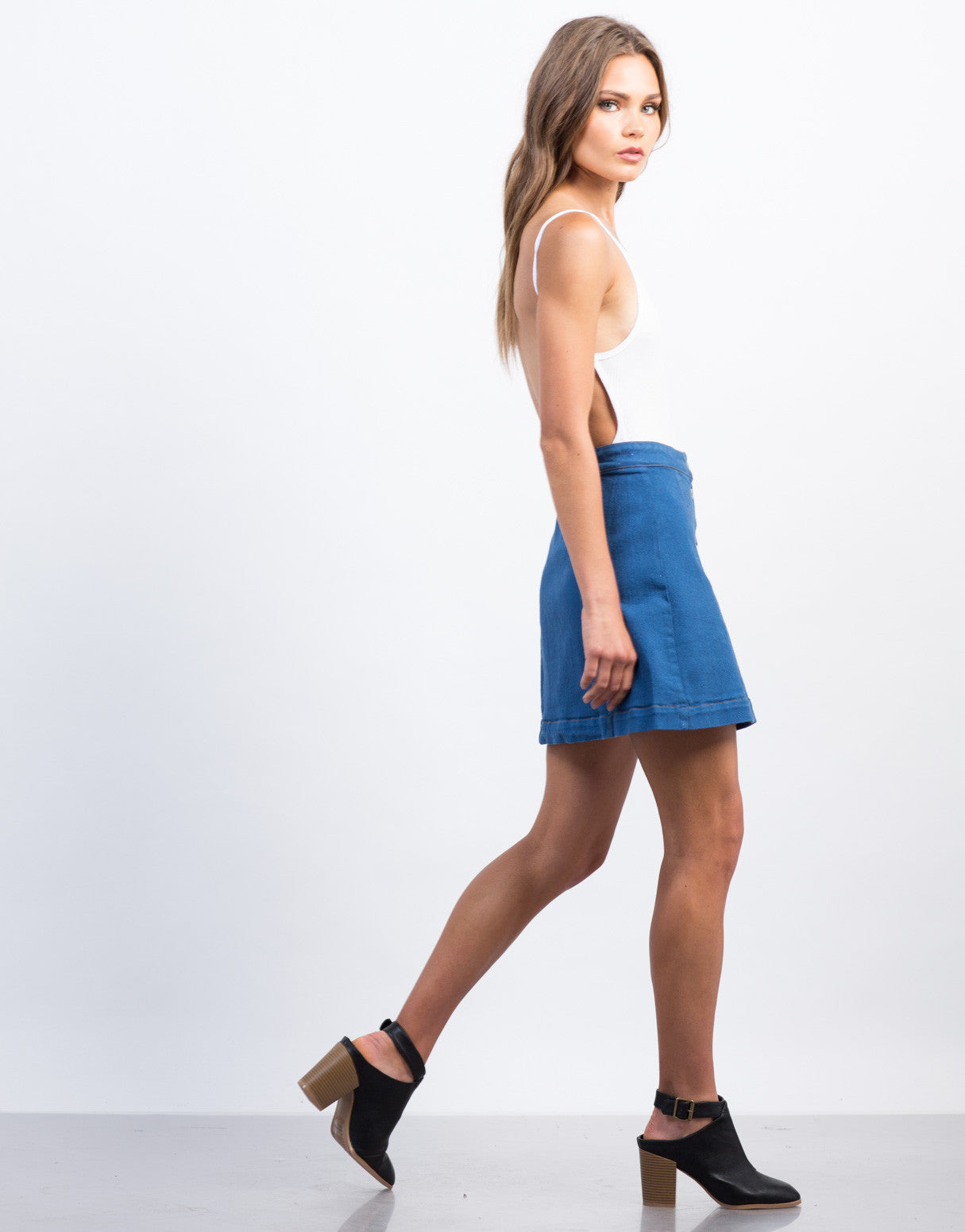 Side View of Flared Buttoned Denim Skirt