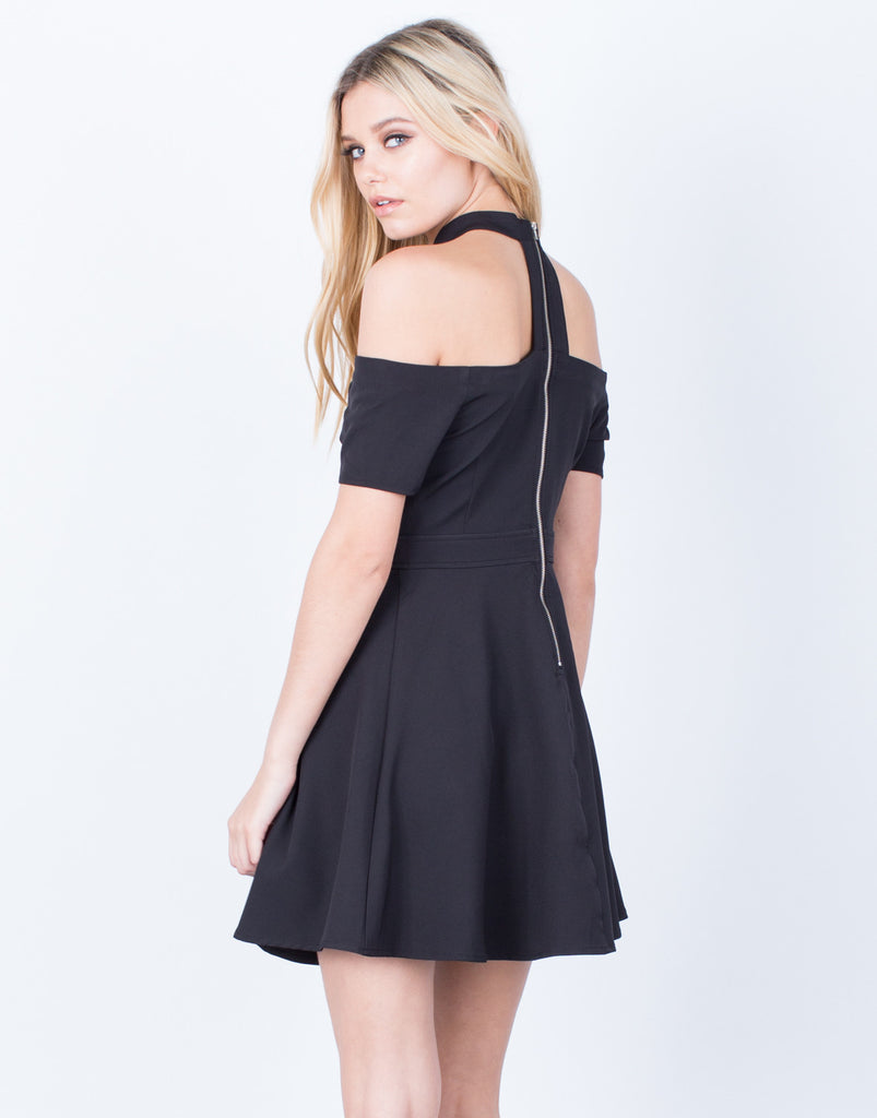 Back View of Flared Choker Dress