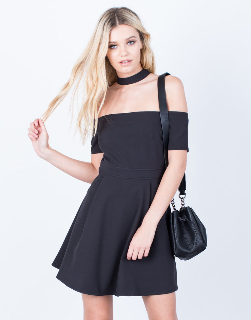 Front View of Flared Choker Dress
