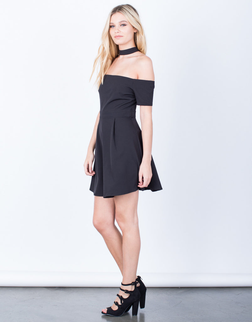 Side View of Flared Choker Dress