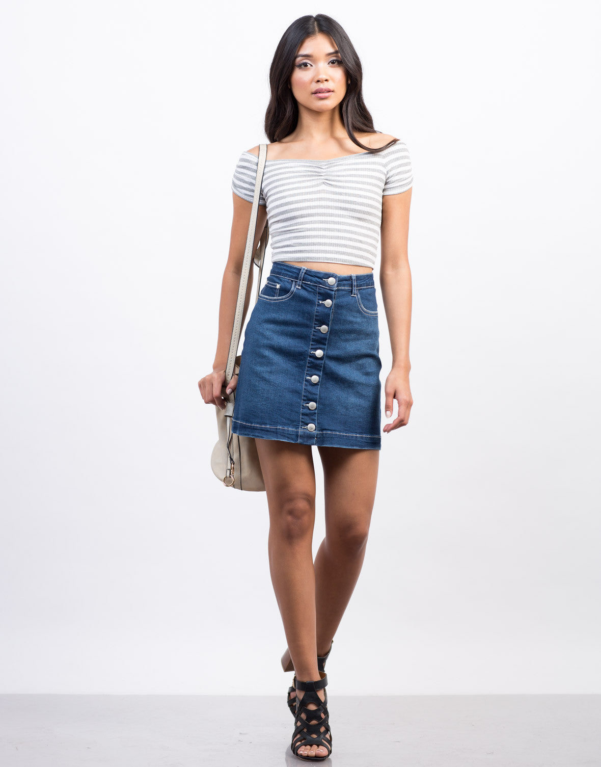 Front View of Flared Denim Skirt
