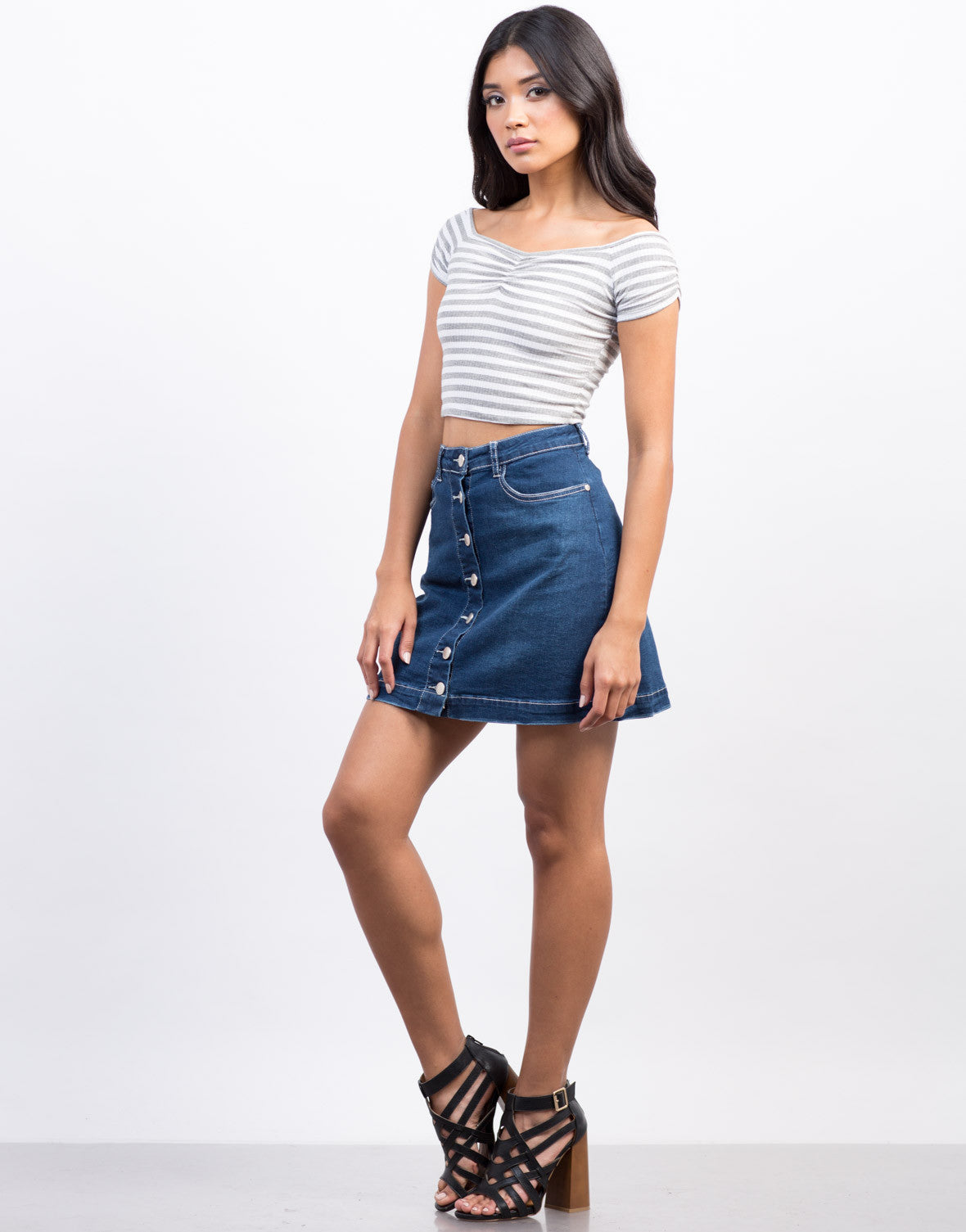 Side View of Flared Denim Skirt