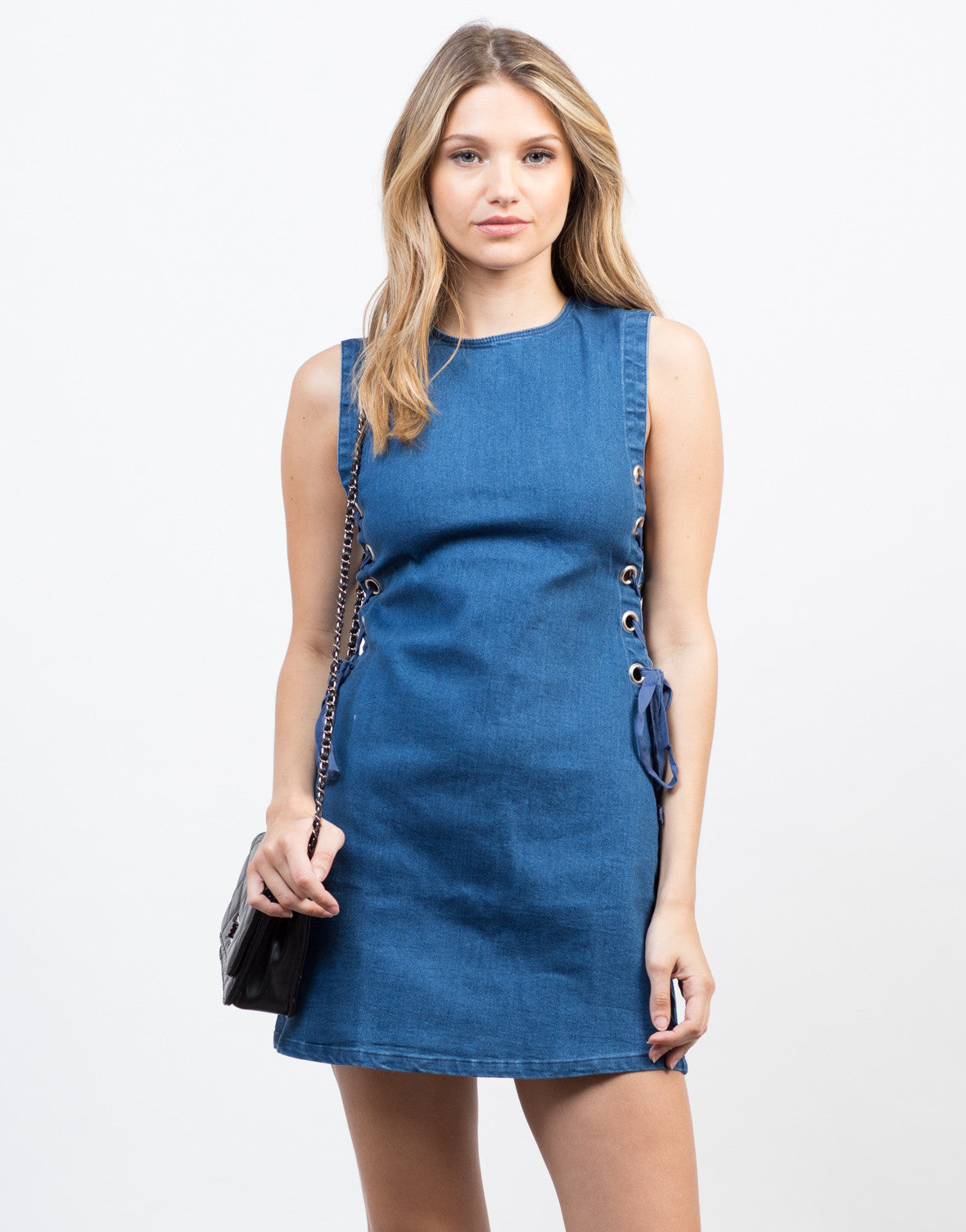 Front View of Flared Lace-Up Denim Dress