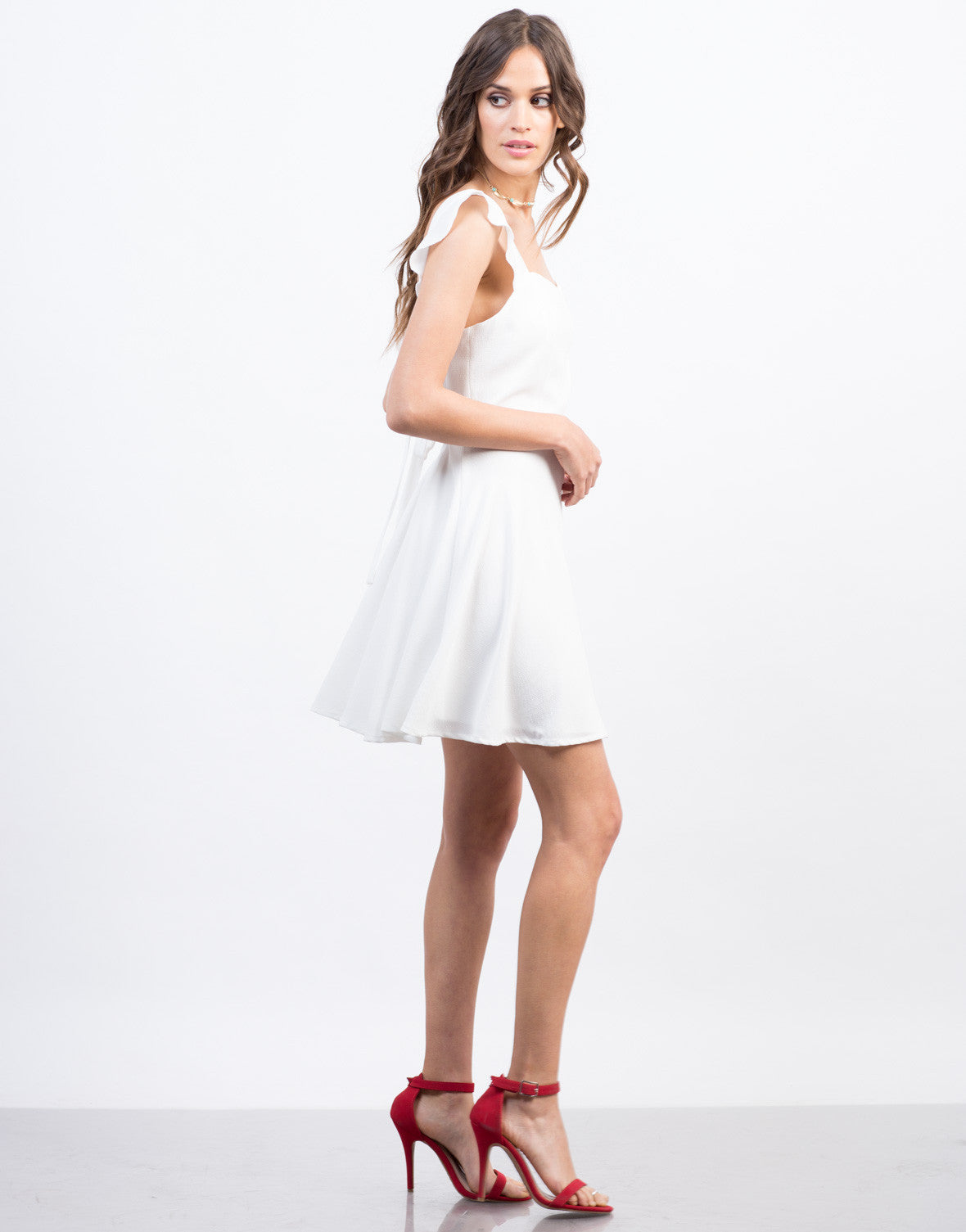 Side View of Flared Ruffle Dress