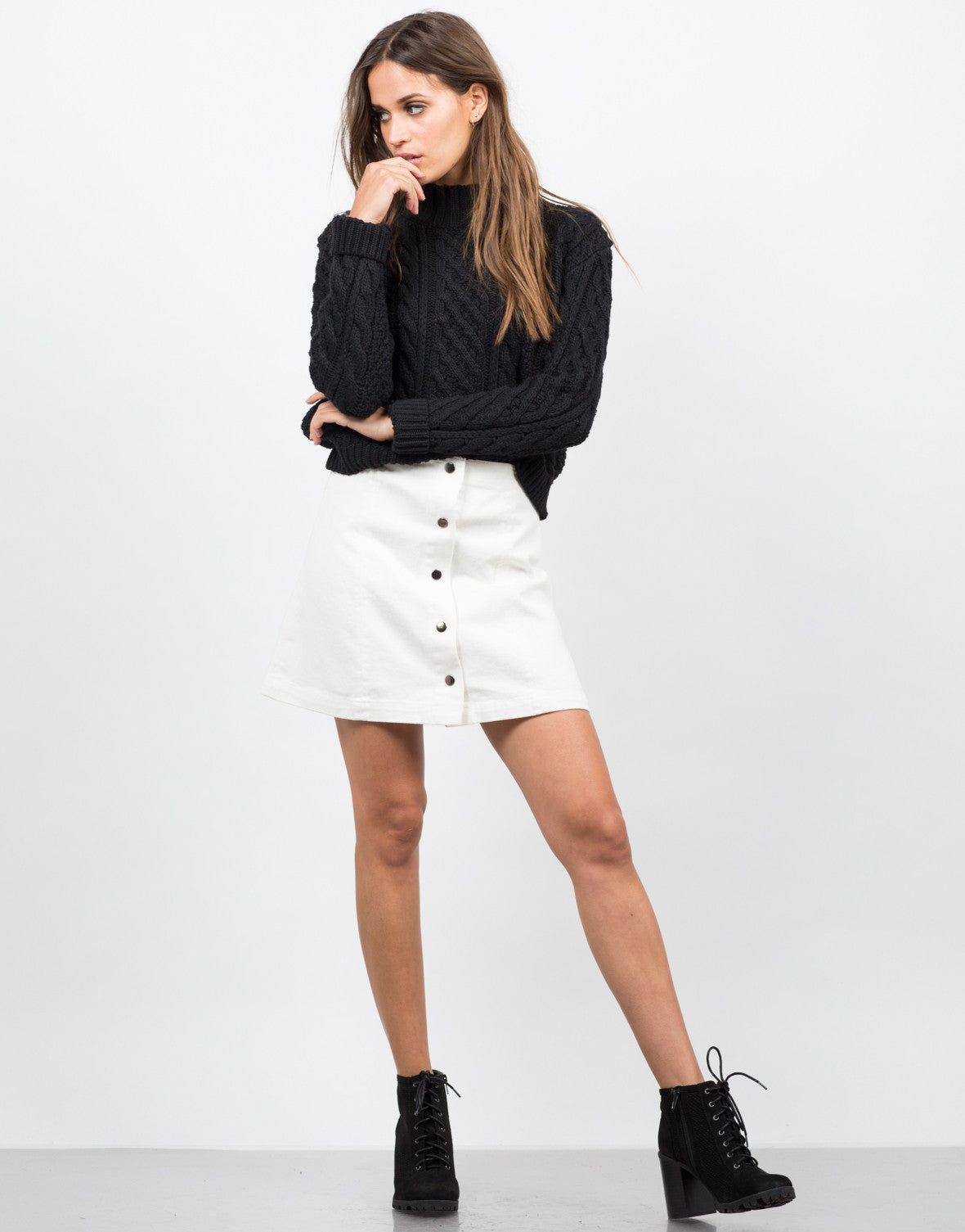 Front View of Flared Button Down Skirt