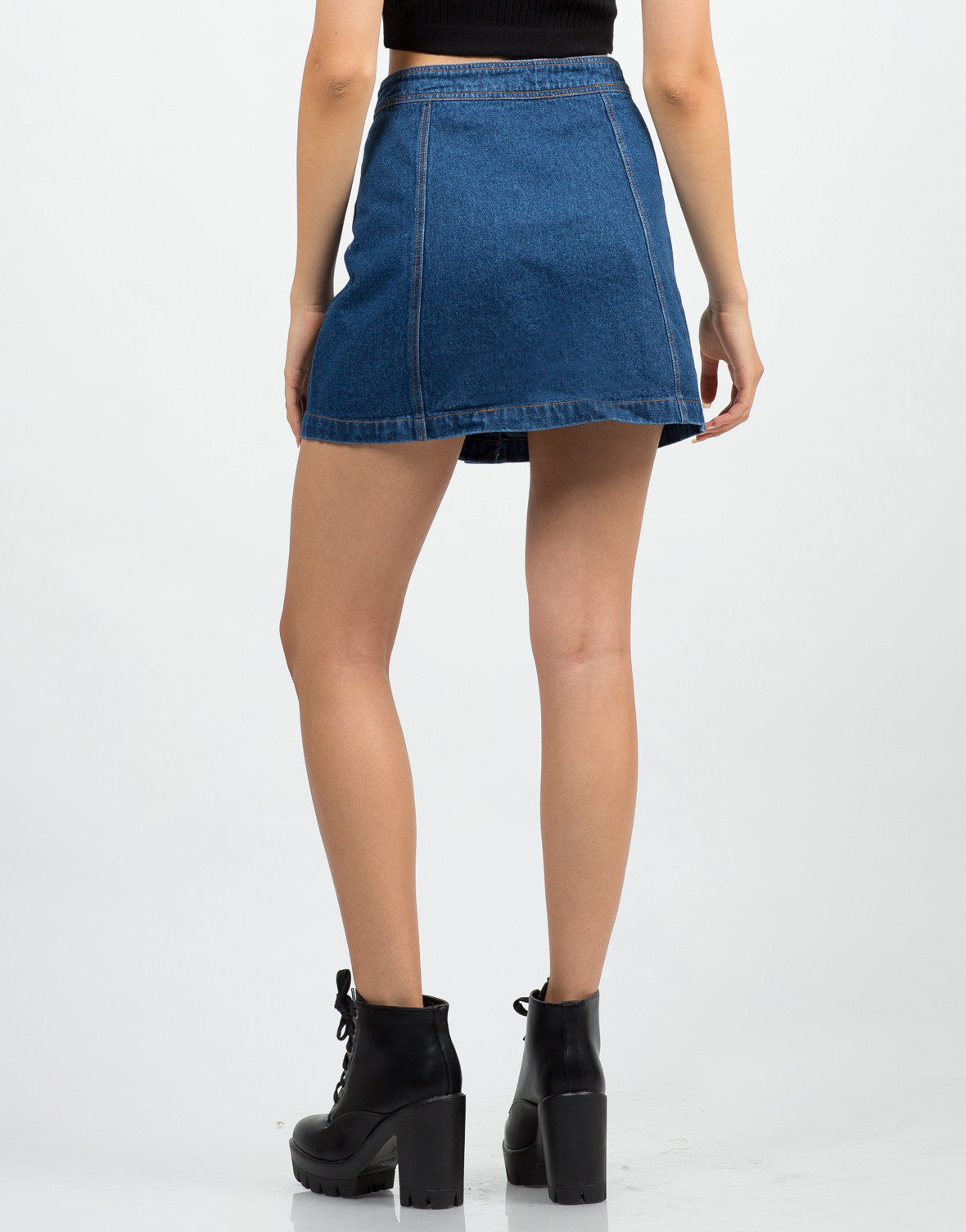 Back View of Flare Denim Skirt