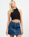 Front View of Flare Denim Skirt