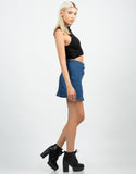 Side View of Flare Denim Skirt