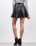 Back View of Flared Faux Leather Skirt