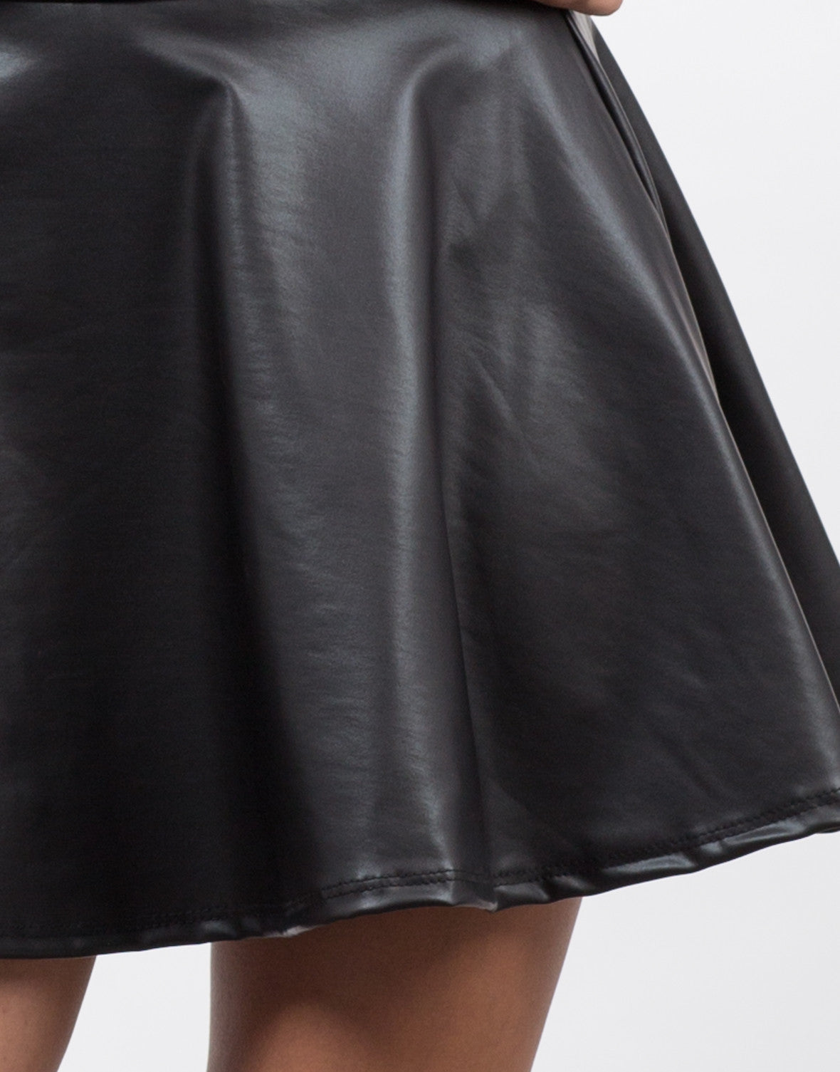 Detail of Flared Faux Leather Skirt