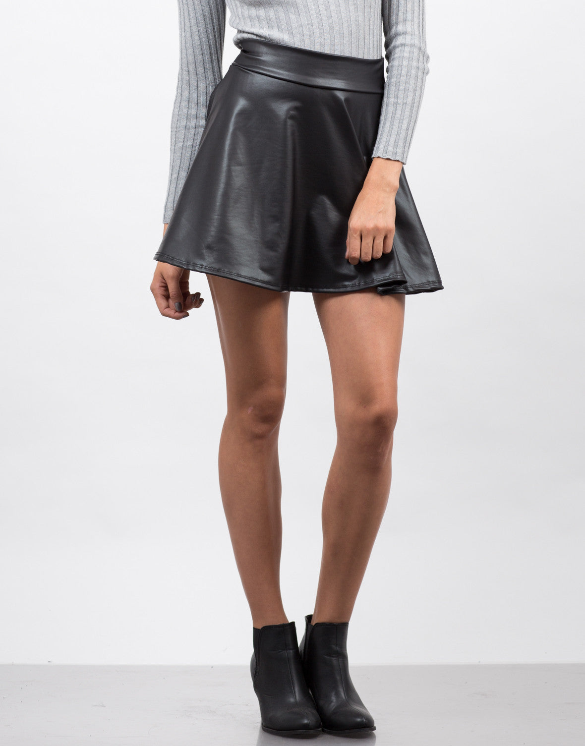 Front View of Flared Faux Leather Skirt