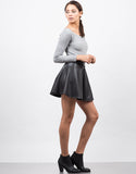 Side View of Flared Faux Leather Skirt