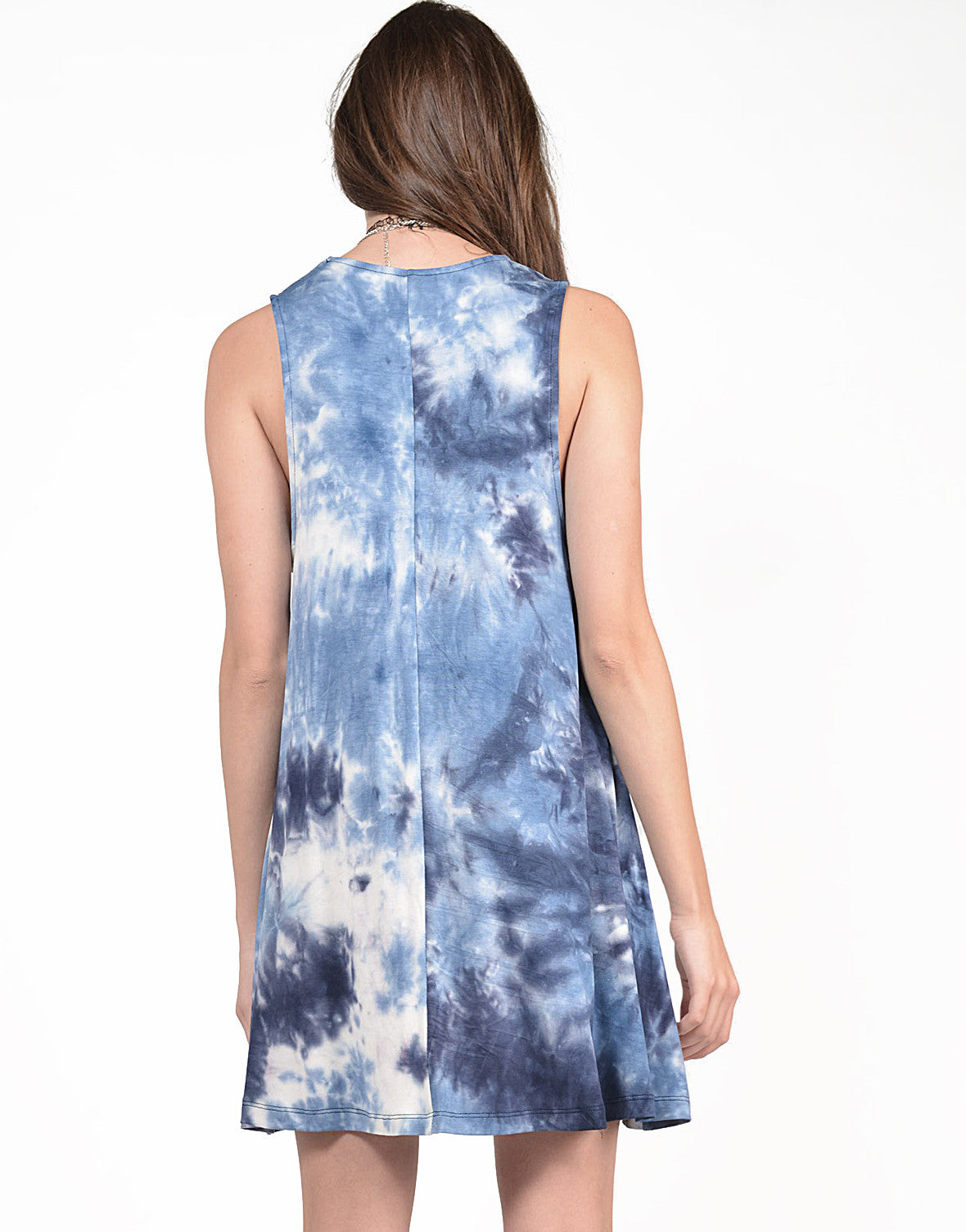 Back View of Flared Tie-Dye Dress
