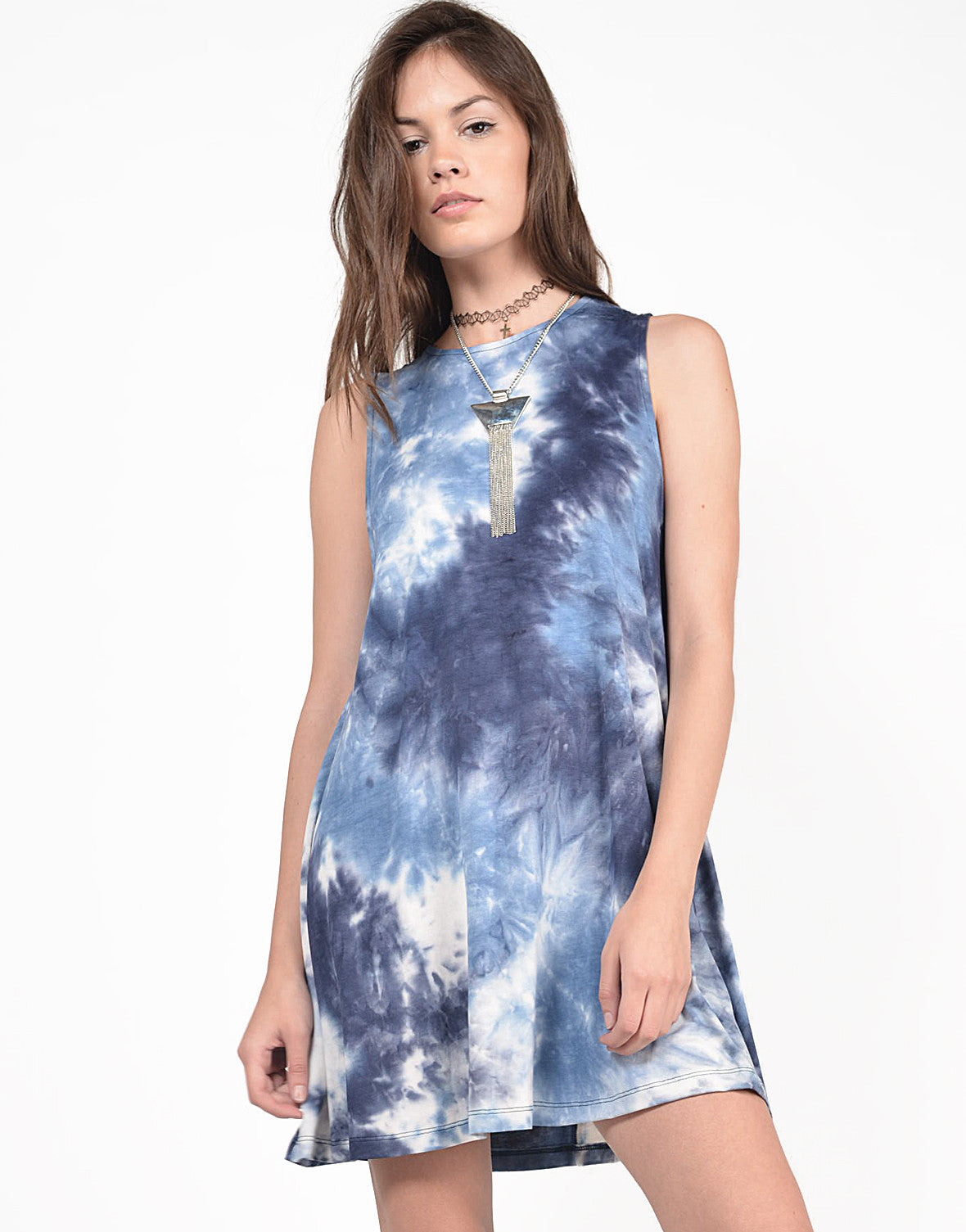 Front View of Flared Tie-Dye Dress