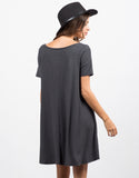 Back View of Flare Ribbed Dress