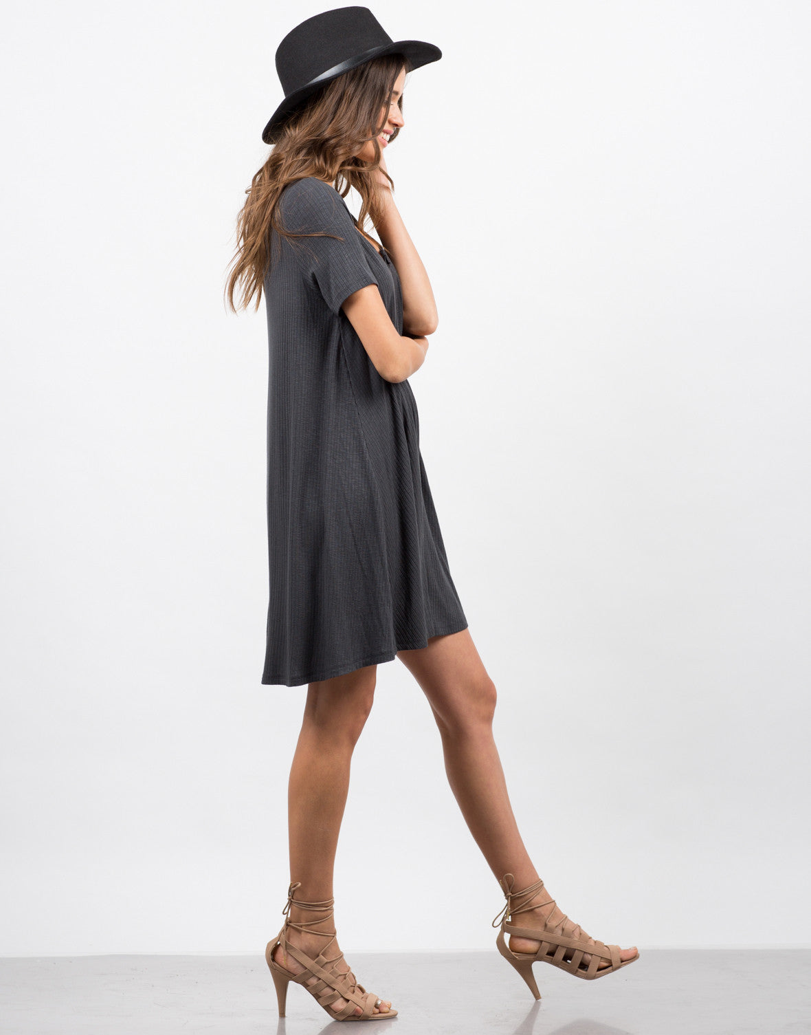 Side View of Flare Ribbed Dress