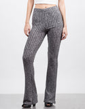 Front View of Flare Ribbed Pants