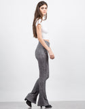 Side View of Flare Ribbed Pants